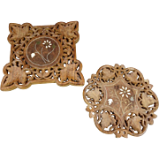 Pair of 2 Hand Carved Footed Wood Trivets