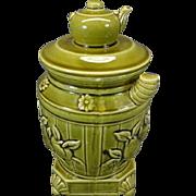 Enesco Light Green Teapot on Barrel Jar