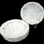"Haviland Set of 6 Coupe Soup Bowl in ""Blue Garland"" Design Pattern"