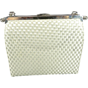 L And M Bags By Edwards White Silver Formal Fabric Purse W/ Clear Plastic Handle