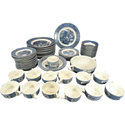 Royal (USA) Currier & Ives 70 Piece Blue Dinner Setting c. 1960