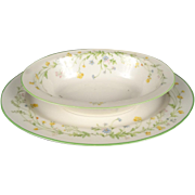 Noritake Ivory China Reverie 7191 Oval Vegetable Serving Bowl & Oval Serving Platter.