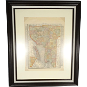 Historical Rand Mcnally 1895 Framed Map of New York