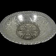 """Vintage Anchor Hocking Stars & Bars 1000 Line Pressed Glass Salad/Serving Bowl 10.5"""""""