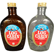 Set of 2 Vintage Log Cabin Syrup 1976 Bicentennial Flask Brown & Clear Glass