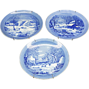 """Currier and Ives 3 x Porcelain Decorative 8"""" Wall Plates c. 1970s"""