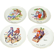 """Norman Rockwell Set of 4 Collectors 6 1/8"""" Plates The Four Seasons c. 1970s"""
