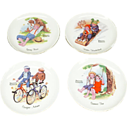 """Norman Rockwell Set of 4 Collectors 6 1/8"""" Plates The Four Seasons 1970s Flawed"""