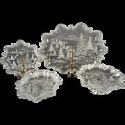 5 Piece Set Mikasa Christmas Story Pattern Frosted Glass Platters/Trays