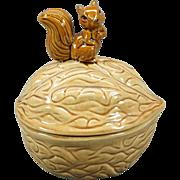 Vintage Squirrel on a Walnut Shaped Nut/Candy/Cookie Jar