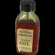 Keystone Projector Lubricating Oil Full Bottle in Original Box c. 1940s