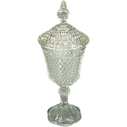 """Vintage Diamond Design Glass Pedestal Candy Dish with Lid 15.5"""" Tall"""