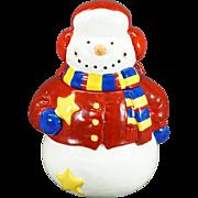 Vintage Hand-painted Snowman Cookie Jar