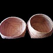 SALE Old Shaker Thin Splint Primitive Thread Baskets - Set of Two