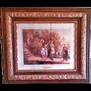 SALE Antique Victorian Era Oak & Gold Gilding Gesso Frame with The Wedding Procession Prin