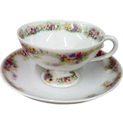 SALE Beautiful C. T. - Carl Tielsch - Germany Porcelain Footed Cup & Saucer Set