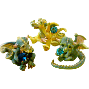 SALE Franklin Mint Limited Edition Hand Painted Mood Dragon Collection - Blue Family