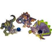 SALE Franklin Mint Limited Edition Hand Painted Mood Dragon Collection - Purple Family
