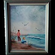 "SALE 1965 ""Best Friends"" Framed Original Oil on Canvas by American Artist V Sonnier"