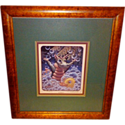 """SALE Randal Spangler """"Bubbles"""" Dragon Signed and Framed 1993 Limited Edition Print"""