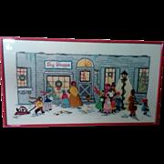 SALE Toy Shoppe Christmas Needlework Sampler- Framed under Glass