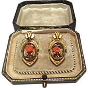 18K Yellow Gold Etruscan Revival Coral Earrings