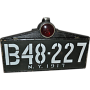 1917 New York Lighted License Plate Rare