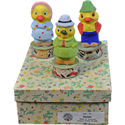 Three German Duck Candy Containers in Original Labeled Box 1920's Era