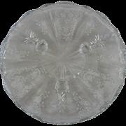 Fostoria Meadow Rose Elegant Depression Glass Crystal Footed Tray