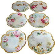 "6 Antique Rosenthal Monbijou Hand Painted 8"" Bavarian Plates with Roses"