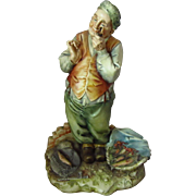 REDUCED Signed A. Borsato Italian Porcelain Fish Seller with Pipe Figurine