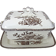 James F. Wileman JFW Staffordshire Brown and White Transferware Tureen in Seasons Pattern
