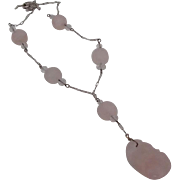 Lovely Carved Rose Quartz Necklace on Sterling Chain