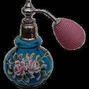 Vintage Blown Glass, Handpainted Aqua Perfume