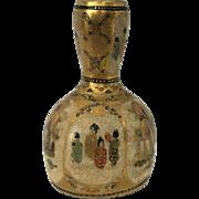 SALE Signed Miniature Satsuma Garlic Head Vase with Figures - Shimazu