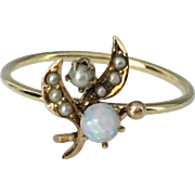 SALE 14k Lily of the Valley Flower Opal Seed Pearl Stick Pin Conversion Ring