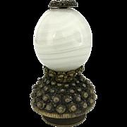 SOLD 19th C Chinese Mandarin Hat Button - 6th Rank - White Peking Glass