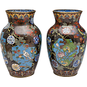 SALE Pair of Large Japanese Cloisonné Baluster Vases - Meiji Period