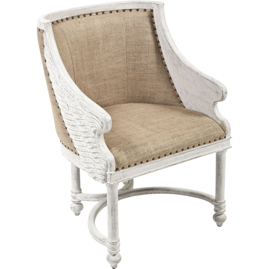 Shabby chic angel side or arm chair white washed with
