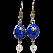 Guilloche Enamel Faberge-Style Egg Earrings Cobalt Blue