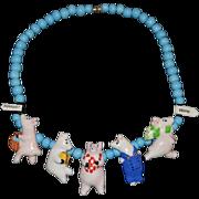 SALE Flying Colors Ceramic Necklace Piggies to Market