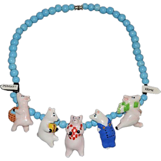 SALE Flying Colors Ceramic Necklace Piggies to Market