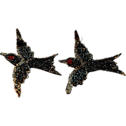 SALE Victorian Hand Beaded Applique Pair Swallows