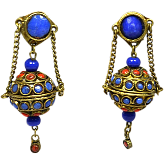 SALE Vintage Chinese Export Earrings Lapis Coral