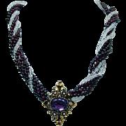 SALE Garnet Aquamarine Amethyst Filigree Necklace with Enhancer 14K Gold Estate Jewelry