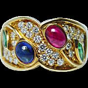 Vintage Ruby Sapphire Emerald Diamond Ring 18K Gold Italy Heavy Estate