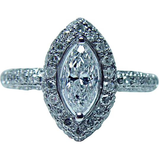 Vintage Marquise Diamond Engagement Ring 80ct center 14K White Gold Estate