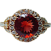 Vintage Mandarin Garnet Diamond 18K Rose Gold Ring Estate Jewelry Size 10.5