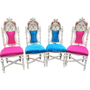Venetian stylish chairs in multiply colored handmade frame and amazing fabric