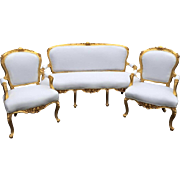 Living room set/ sofa/settee with two chairs in French Louis XV style